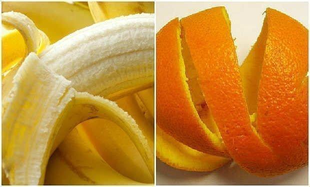 cascara de platano y naranja